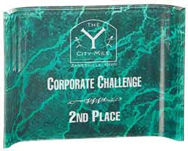 "Custom Engraved Green Marbleized Acrylic Crescent Shaped Award (7"" x 5"")"