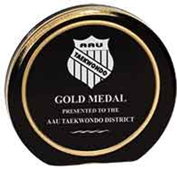 "Custom Engraved Black/Gold Aurora Acrylic Circle Award (5.5"")"