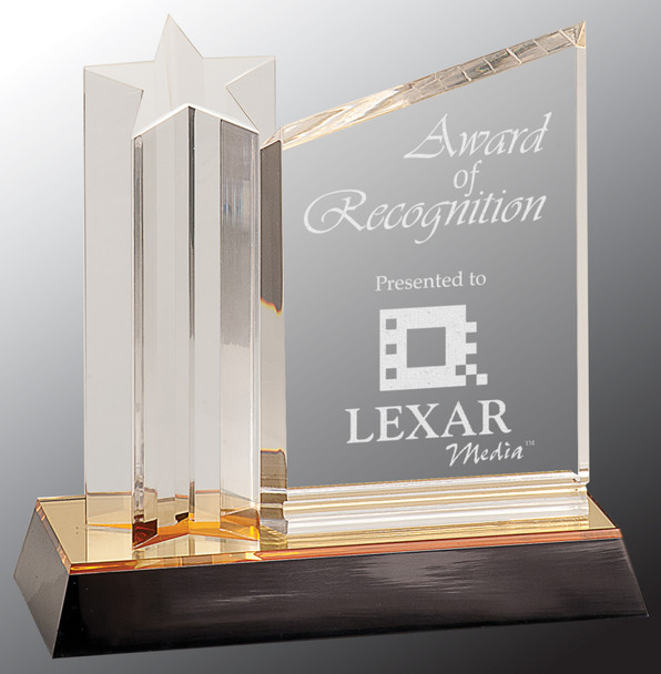 """Custom Engraved Clear Acrylic Star and Plaque with Gold/Black Base (7"""")"""