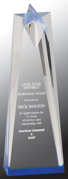 """Custom Engraved Blue Acrylic Sculpted Star Award (3.5"""" x 10"""")"""
