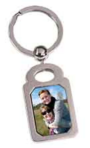 "1"" x 1 3/8"" Silver Rectangle Sublimatable Keychain"