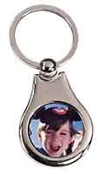 """1 1/4"""" x 1 1/2"""" Silver Pear Sublimatable Keychain"""
