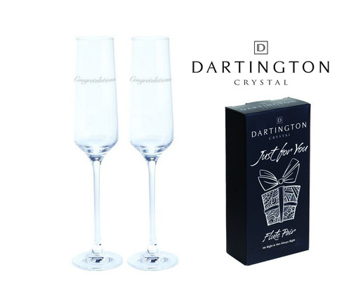 "DARTINGTON JUST FOR YOU HAND ENGRAVED ""CONGRATULATIONS"" PAIR FLUTES"