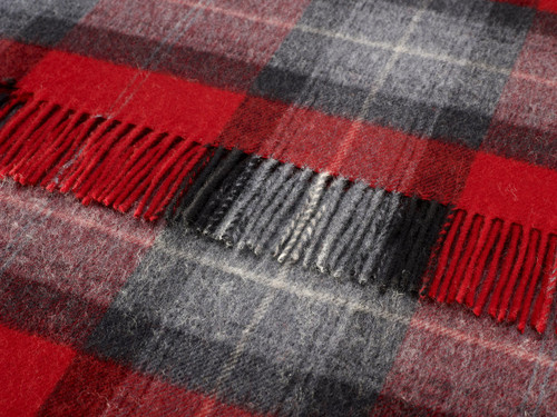 BRONTE SKYE CHECK RED PURE SOFT LAMBSWOOL BLANKET 100% NEW WOOL THROW MOONS