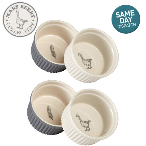 Mary Berry Set of 4 Ceramic Ramekins With The Goose & Fern Design Grey & Cream