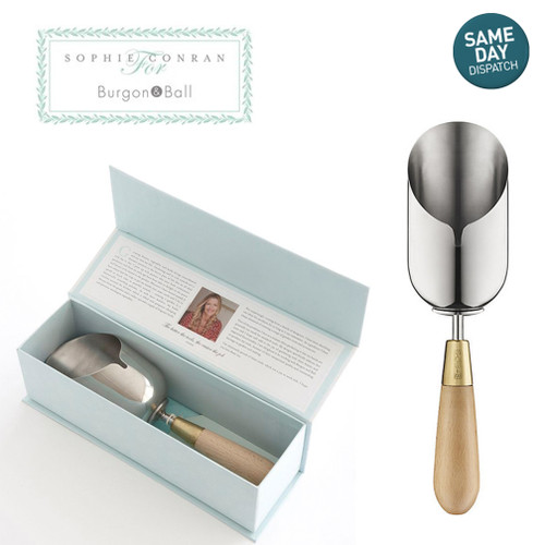 Sophie Conran Burgon & Ball Gardening Compost Scoop Stainless Steel Wood Handle Gift Box