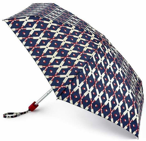 Lulu Guinness Lipstick Lattice Tiny Handbag Size Folding Umbrella & Cover