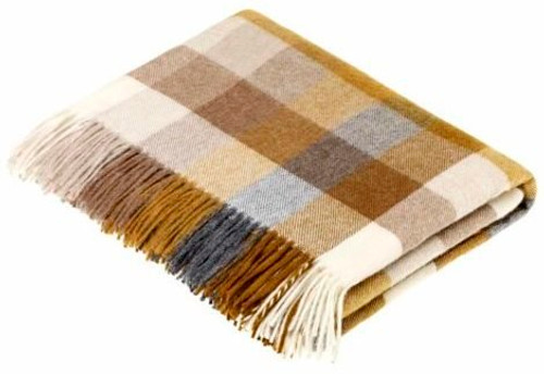 Bronte Harlequin Gold & Grey Soft Lambswool Blanket Throw Moons Wool