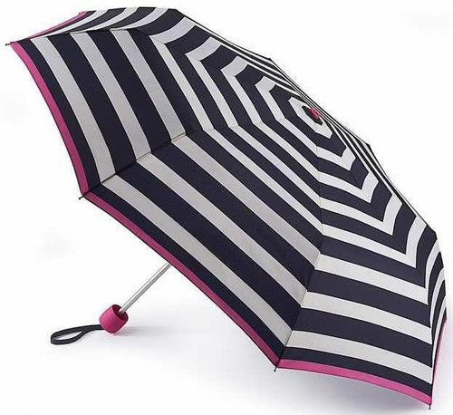 Joules Wide Coastal Stripe Minilite Folding Compact Umbrella With Matching Cover