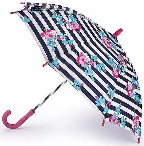 Joules Botany Floral Stripe Junior Childs Walking Umbrella Length 58cm Fultons