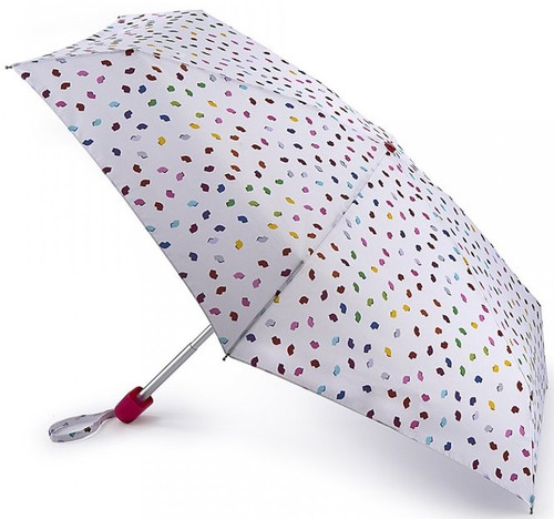 Lulu Guinness Confetti Lip Tiny Handbag Size Folding Umbrella & Cover