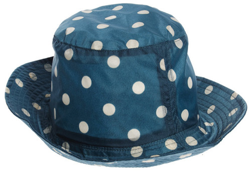 Cath Kidston Hat Spot Navy Blue Rain Hat One Size Showerproof