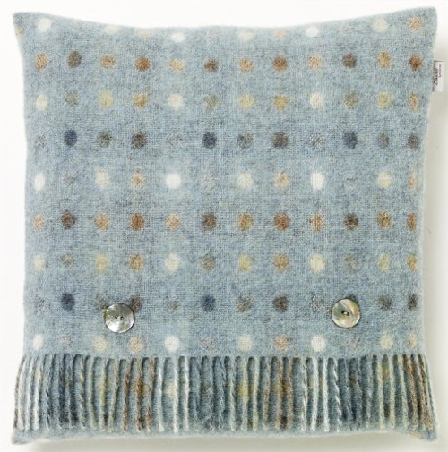 Bronte Spot Check Aqua 100% Pure New Shetland Wool Cushion 35 x 35cm Moons