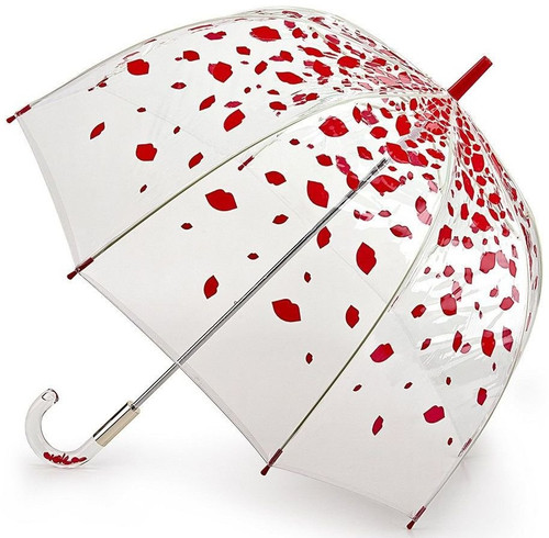 Lulu Guinness Raining Lips Clear Dome Birdcage Walking Umbrella Brolly