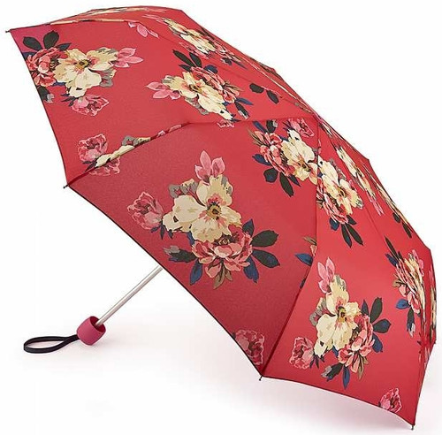 Joules Raspberry Bircham Bloom Compact Minilite Folding Handbag Size Umbrella With Cover