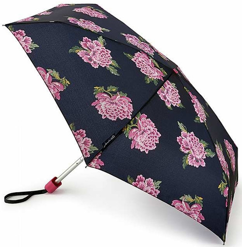 Joules Navy Chinoise Flower Compact Tiny Folding Handbag Size Umbrella