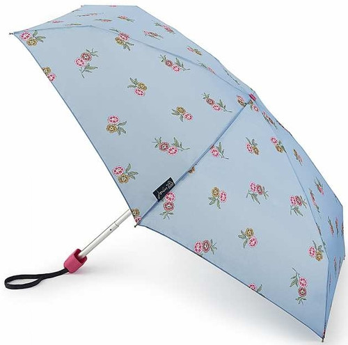 Joules Chinoise Blossoms Frozen Blue Tiny Folding Umbrella Handbag Size