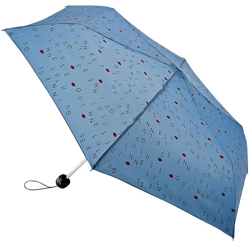 Lulu Guinness Letters Mist Blue Superslim Folding Umbrella Handbag Size With Matching Cover