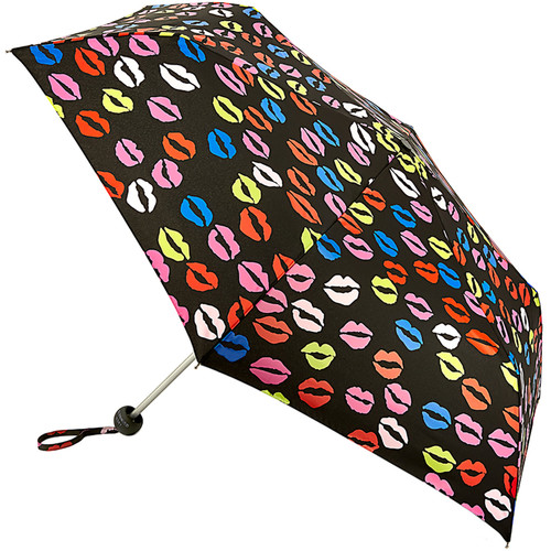 Lulu Guinness Blot Lips Minilite Folding Umbrella Compact Handbag Size With Cover