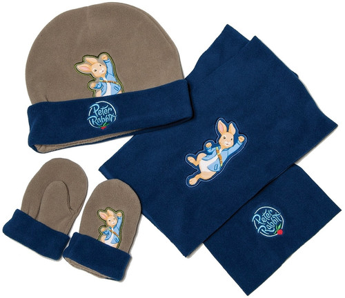 Peter Rabbit & Friends Hat Gloves & Scarf Set Blue & Khaki Adventurer BBC One Size