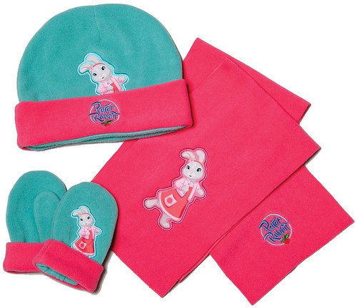 Peter Rabbit & Friends Lily Bobtail Hat Gloves Scarf Set Pink & Mint BBC One Size