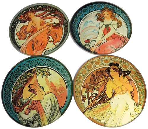 Dartington Mucha Set Of Four 4 Glass Drinks Coasters With Holder Parastone