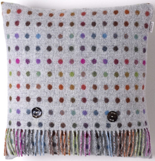 BRONTE MULTI SPOT GREY CUSHION FEATHER FILLED 40 X 40cms MOONS