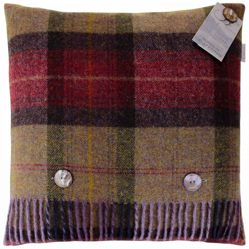 BRONTE MULBERRY SKYE CHECK 100% PURE NEW SHETLAND WOOL CUSHION FEATHER FILLED