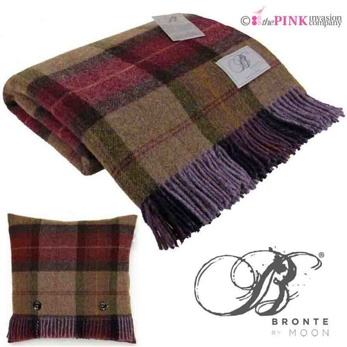 BRONTE MULBERRY BLANKET & 1 x CUSHION SKYE CHECK 100% PURE NEW WOOL THROW
