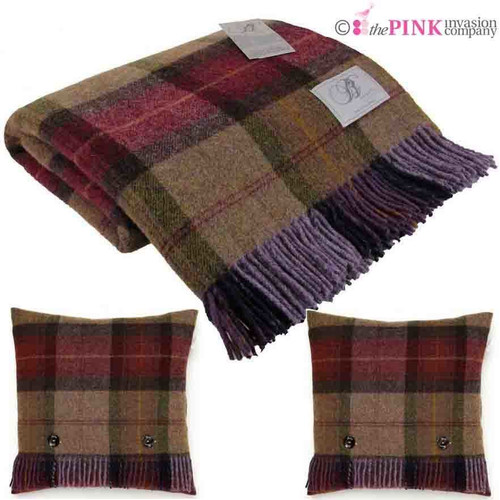 BRONTE MULBERRY BLANKET & 2 x CUSHIONS SKYE CHECK 100% PURE NEW WOOL THROW MOONS