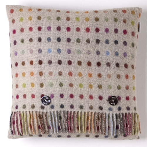 BRONTE PURE LAMBSWOOL MULTI SPOT BEIGE FEATHER FILLED WOOL CUSHION MOONS