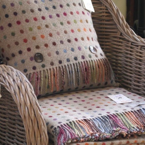BRONTE LAMBSWOOL MULTI SPOT BEIGE BLANKET THROW & 1 x FEATHER FILLED CUSHION