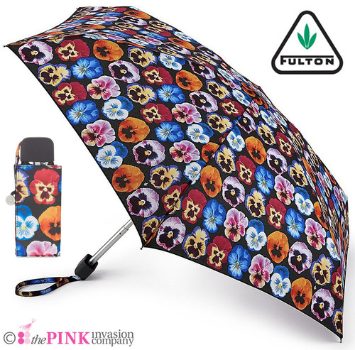 FULTON PANSY COMPACT HANDBAG SIZE FOLDING UMBRELLA & COVER TINY