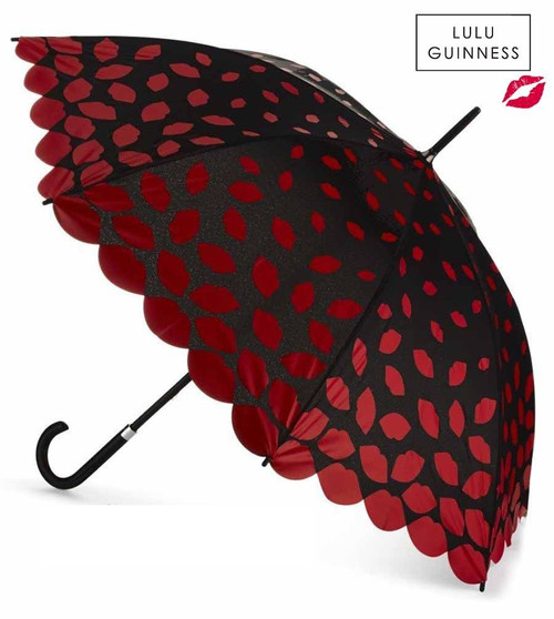 LULU GUINNESS LASER CUT LIPS KENSINGTON DESIGNER WALKING UMBRELLA HOOK HANDLE