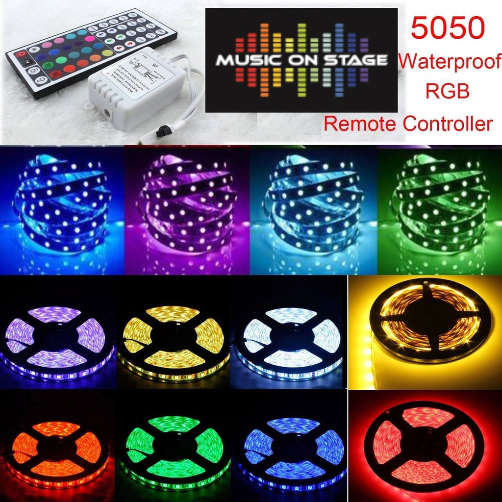 5M 5050 RGB SMD RGB LED Strip Light 44Key Programmed Key IR Remote Control Power Supply IP65 WaterProof
