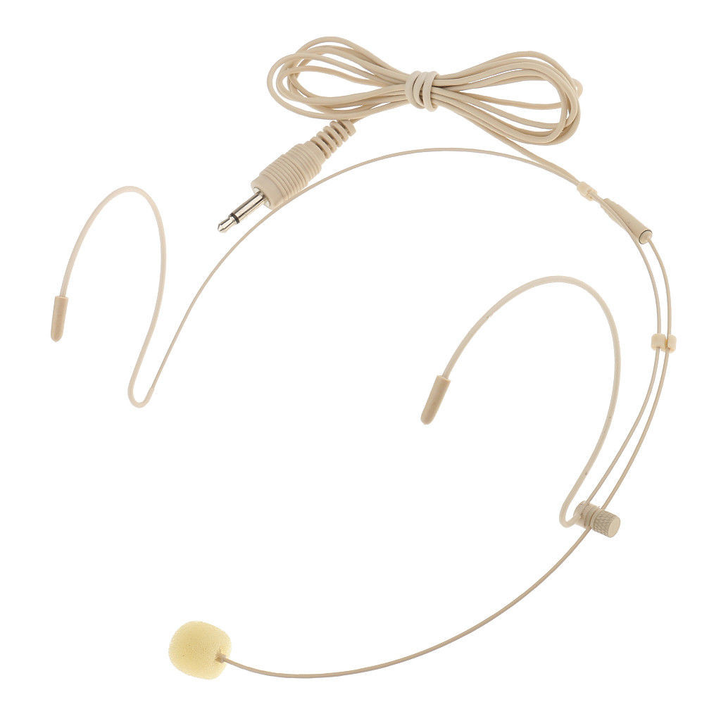 MOS Headset Microphone Beige Double Earhook 3.5mm Transmitter