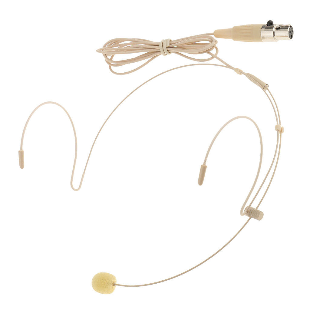 MOS Headset Microphone Beige Double Earhook 4Pin Mini XLR Transmitter
