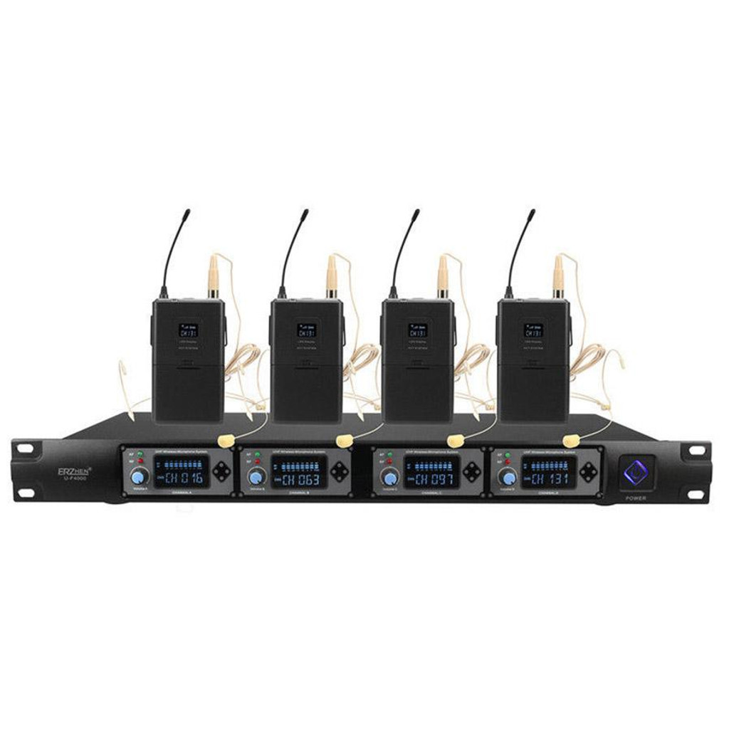 Abel KTV Wireless Microphone System Professional 4 Channel UHF Mic with Headset