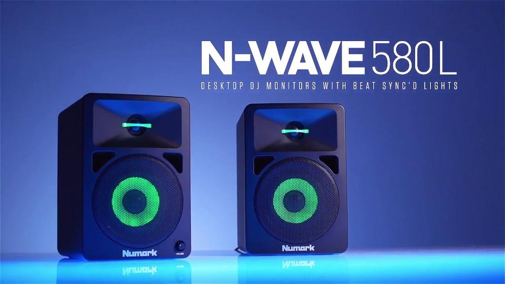 Numark N Wave 580L Desktop DJ Monitors w/ Pulsating Lights (Pair)