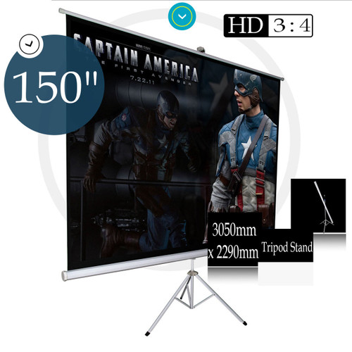 150 Inch Portable Foldable Projector Screen Tripod Stand Home HD 3050mm x 2290mm