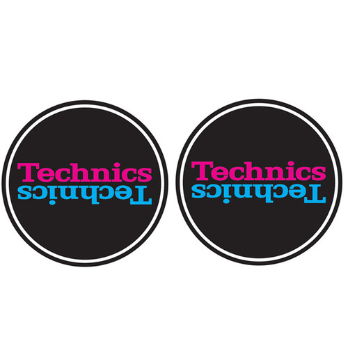 Technics 60660 DJ Vinyl Turntable Slipmat Duplex Black  Blue Pair