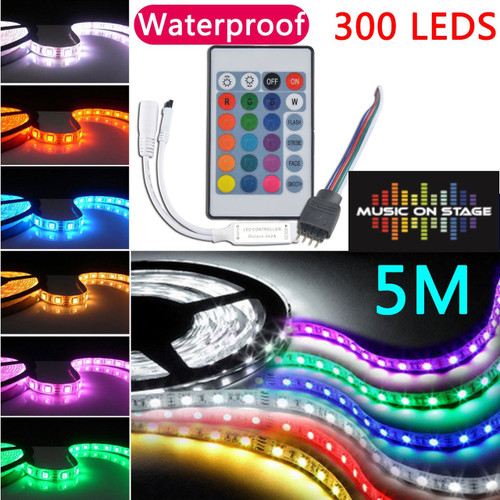 5M 5050 RGB SMD RGB LED Strip Light 40Key Power Supply IP65 WaterProof 1 x 24 Key IR Remote Control