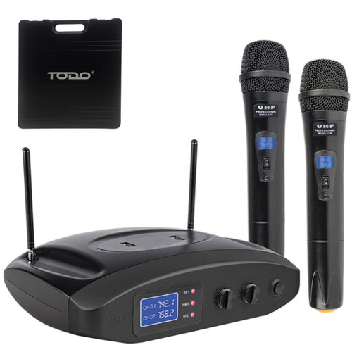 TODO TWIN MICROPHONE UHF DUAL CHANNEL USB RECHARGEABLE MIC CASE