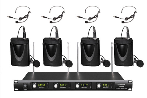4 channel 4 lapel 4 headset mics uhf wireless microphone system od 4 bodypack music on stage. Black Bedroom Furniture Sets. Home Design Ideas