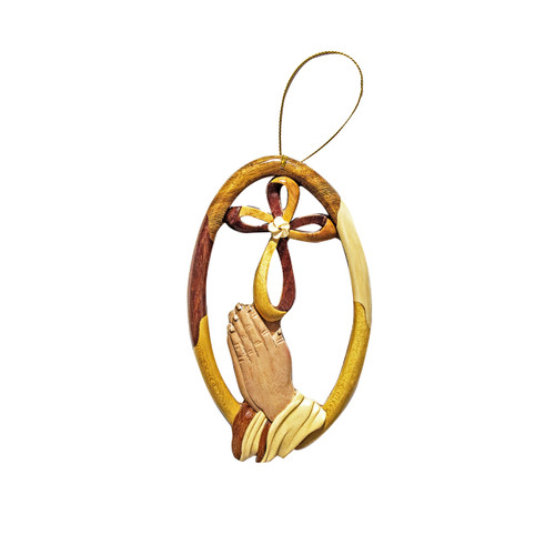 Praying Hands Infinity Cross - Ornament