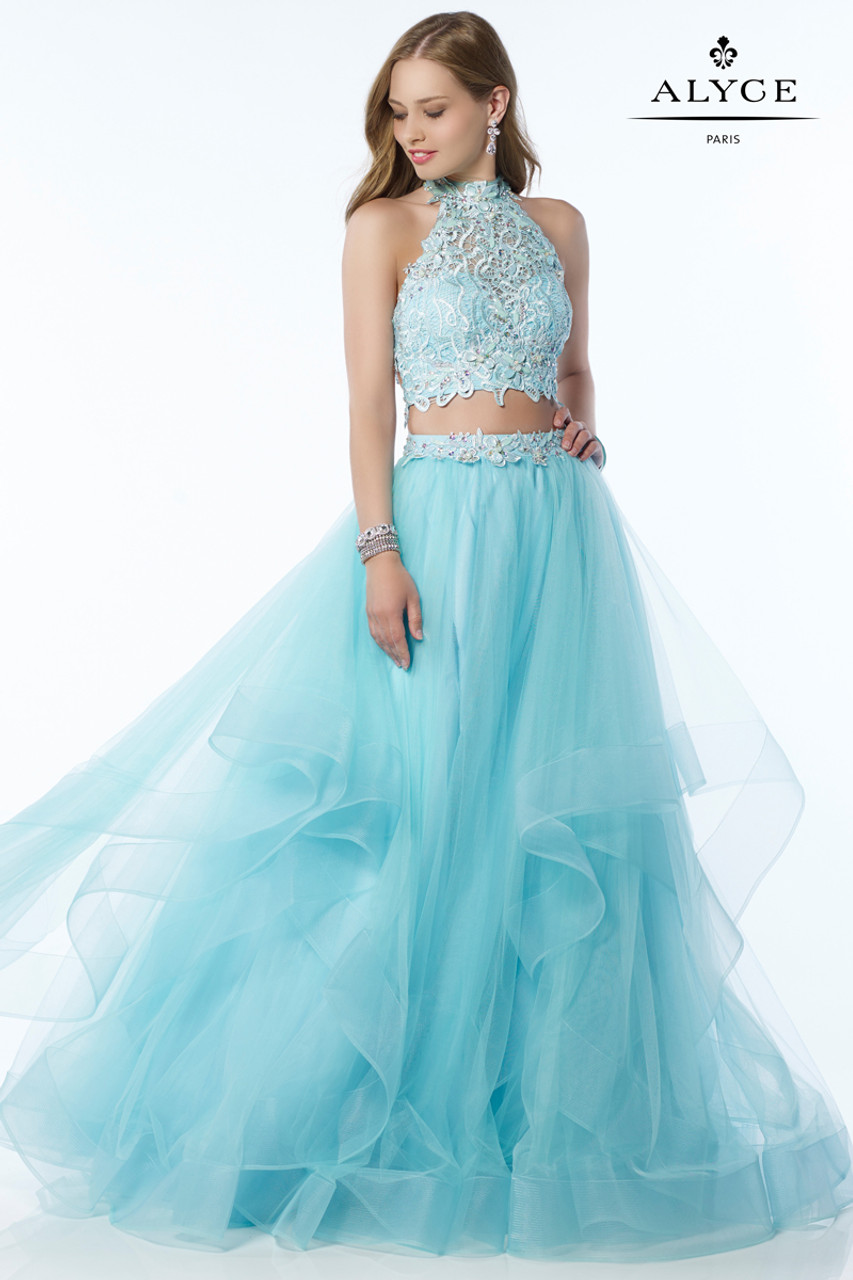 Lace Top Two Piece Prom Dress by Alyce 6765