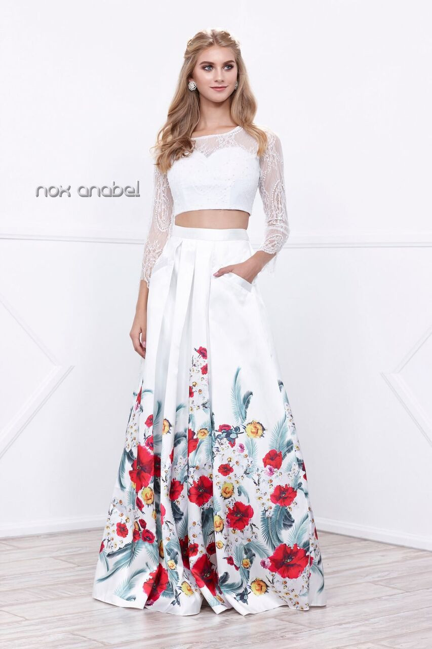 Two Piece Floral Print Prom Gown 8353
