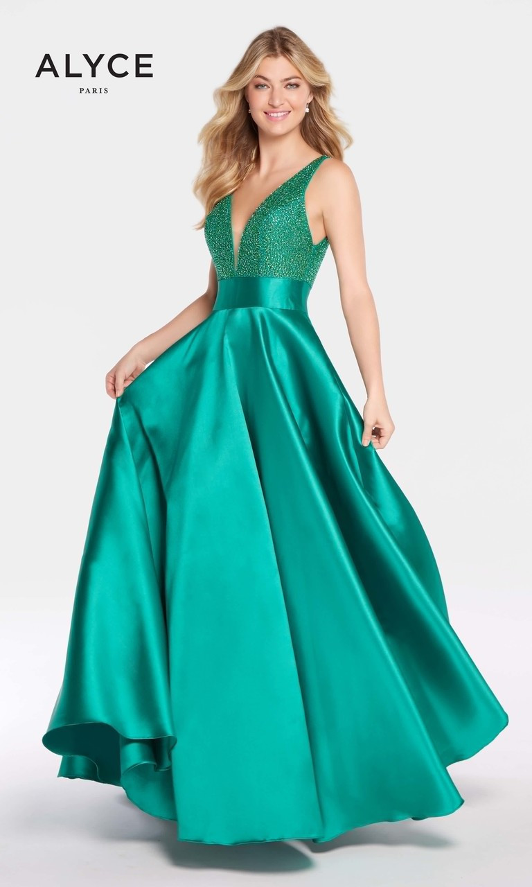 Ball Gown with Deep V Neckline by Alyce 60224