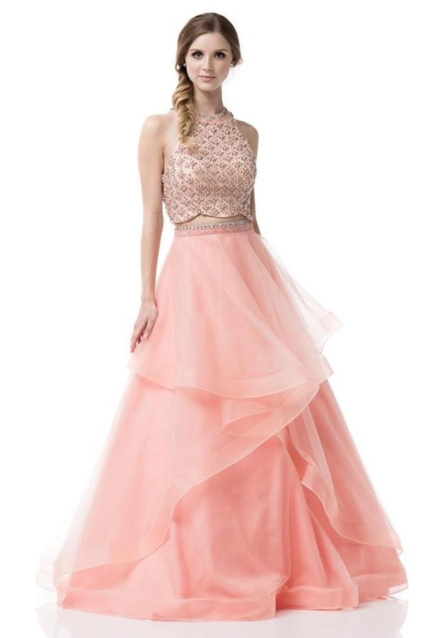 Two Piece Prom Dress with Ruffled Skirt
