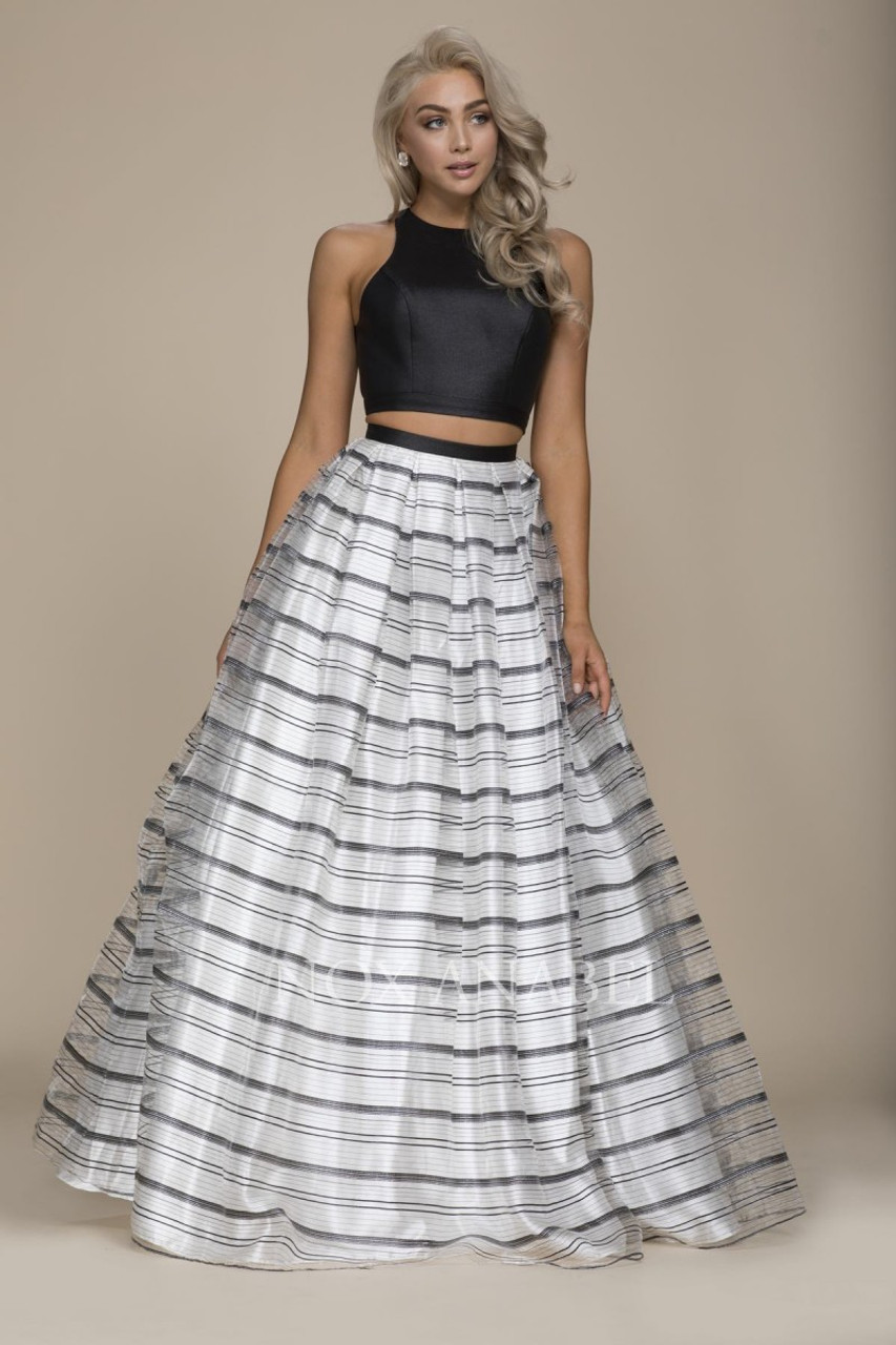 Two Piece with Stripe Skirt Prom Dress (NA COO3)